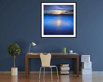 Minimal Art - Extra large art Print - Blue - Sea - Water - Minimalist canvas - cornflower blue - deserted beach photo