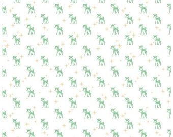 COZY CHRISTMAS - Reindeer in White / Green -  Holiday Cotton Quilt Fabric - C5364-WHITE - Lori Holt for Riley Blake Designs Fabrics (W4314)