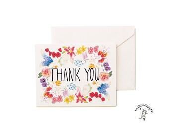 Thank you Botanical Flowers Card - Handmade - Set of 10 - A2- Blank