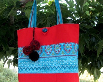 Tote bag, red and blue bag, gift for her, handmade fabric tote, bag with pompons , handbag, purse, everyday bag