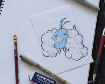 Pokemon Swablu 4x6 marker drawing