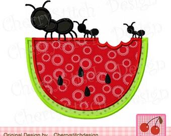 Watermelon with ants Summer Machine Embroidery Applique Design SUM003  -4x4 5x5 6x6 inch-
