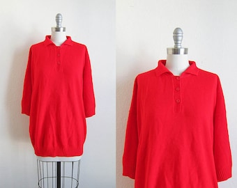 1980s vintage red oversized pullover jumper batwing 3/4 length sleeve sweater