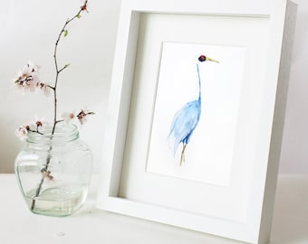 Original  Watercolor Blue Heron Painting/Chinese ink painting–Watercolor Bird Abstract art Painting,egret,8X10inch Wall Decor Home Decor
