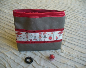 """Purse treasure gray faux leather red and sparkly """"Paris"""""""