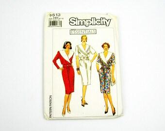 Simplicity 1989 Dress Pattern No 9513, Uncut, Vintage Sewing, Shawl Collar Wiggle Dress, Pullover Elastic Waist, Below Knee Straight Skirt
