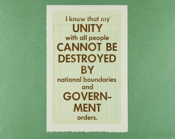 Unity With All People - Tolstoy Letterpress poster on vintage graph paper - Typography print - No ban no wall