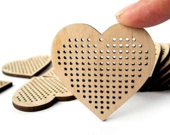 Set of 3, Cross Stitch Pendant, Heart, 55x55 mm, Cross Stitch Blank, Plywood Blank, Pendant, Earring, Brooch, Necklace, Laser Cut
