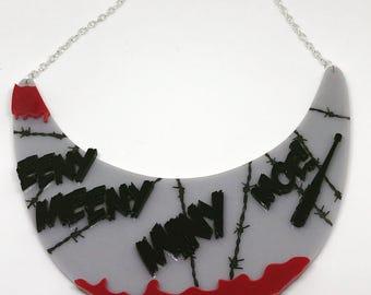 Laser cut acrylic bib Necklace - Eeny meeny miny moe - plastic bib necklace - Negan necklace - Lucille Jewellery