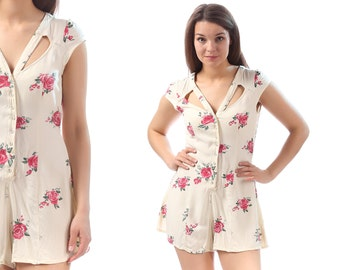 MINI ROMPER Dress 90s Grunge Cut Out Short Sleeves Playsuit Floral White Pink Roses Vintage One Piece Cotton Onesie Jumpsuit XS to Small