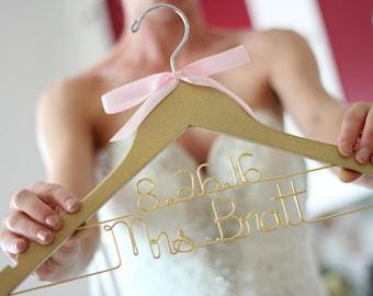Glitter Gold Silver Pink Bridal Hanger, Mrs Hanger, Bride Hanger, Bridal Hanger, Personalized Hanger