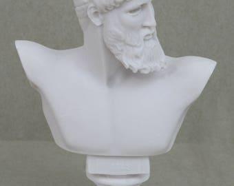 "ZEUS King Of Gods Greek Roman Bust Head Alabaster Statue Sculpture 6.3"""