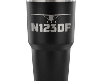 Custom Aircraft N-Number & Silhouette, Laser Etched 30 oz. Stainless Steel Vacuum Tumbler