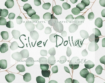 """Eucalyptus Silver Dollar Clipart Greenery Clipart Green Clip Art Greenery Eucalyptus Watercolor Clipart Leaves Handpainted - """"Silver Dollar"""""""