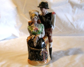 Peasant Couple Pottery Figurines, Collectible Figurines, Clay Pottery Figurines, Home Decor, Valentines Gift