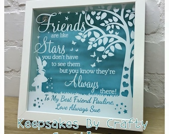 Friends Frame, Personalised Friends Are Like Stars Shadow Frame