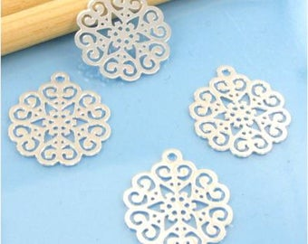 Prints 4 pendants filigree connectors - Diam Max: 16 mm - silver # E75