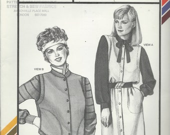 Uncut Vintage Sewing Pattern #1543 - Stretch & Sew - SLEEVELESS JUMPER and VEST - Ann Person 1984 - Bust Sizes - 30 - 46 - plus sizing