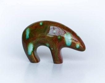 Small Standing Bear - Moss Agate
