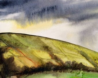 Yorkshire, English countryside, Yorkshire moor, stormy landscape, English landscape, landscape watercolor, Yorkshire painting, storm clouds
