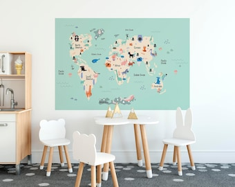 World map removable wall decal for kids colorful educational kids world map decal removable wallpaper with continents and animals of world self adhesive peel gumiabroncs Images
