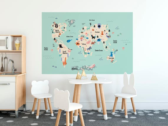 Kids world map decal removable wallpaper with continents and gumiabroncs Choice Image