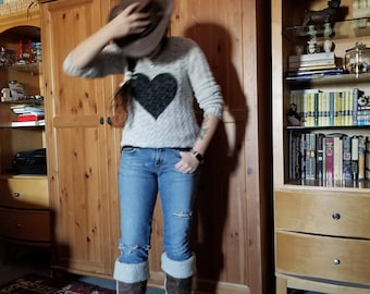 Handpainted Heart Sweater - Stencilled Sweater - One of a Kind Sweater