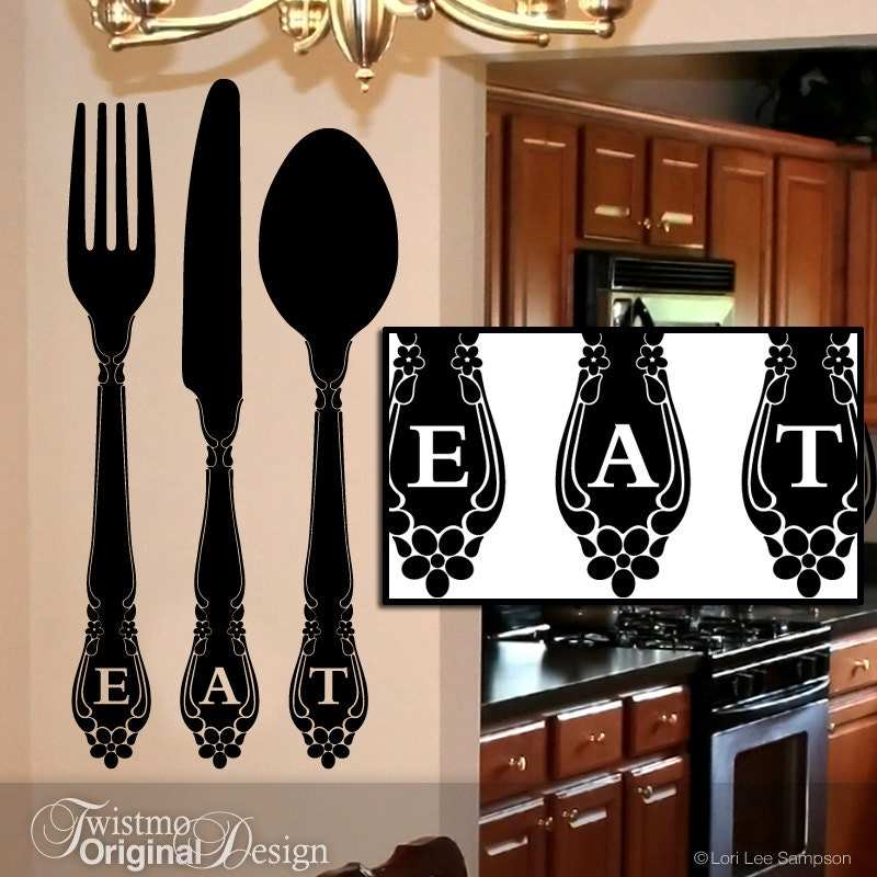 EAT Kitchen Wall Decor Vinyl Wall Decal Large Fork and Spoon