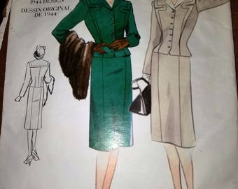 Vintage 1944 Style Vogue Pattern 2198 for a Woman's Business Suit, Size 10, Complete
