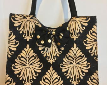 Elegant black and gold Tote or Purse-#1057
