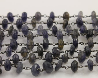 30% OFF, Iolite Gemstone Chain, Wire Wrapped Gemstone Chain, Roundel Chain Oxidized Finish , Size 6-7mm, (RON-IOL-20)
