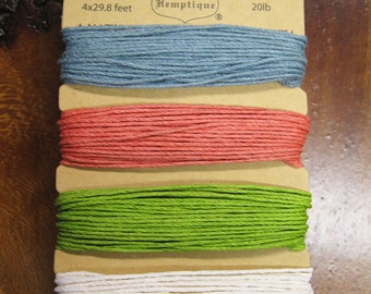 Calming Colors Blue Coral Green Hemp Cord for Macrame Jewelry Making 4 colors 29.8 ft each