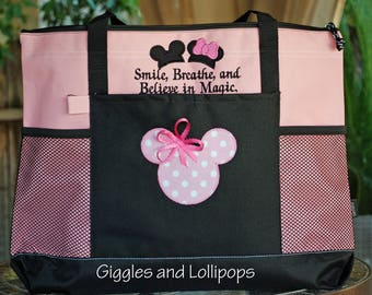 Personalized large zippered Disney tote bag Mickey or minnie mouse