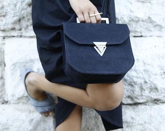 Black Leather Clutch / Evening Leather Purse / Crossbody Small Bag / Shoulder Bag  / Geometric Women Handbag / Elegant Wallet - Tonny