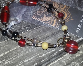 red beaded necklace, red glass beaded necklace