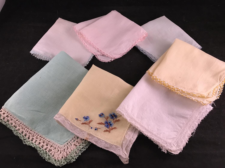 Lot of 7 Vintage Ladies\' Hankies/Handkerchiefs Variety of