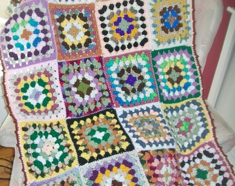 Vintage Granny Square Lap Throw Multicolored Throw Pastel Yarn Crocheted Couch Blanket