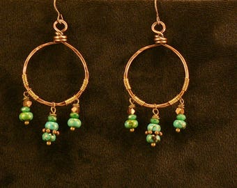 Tribal hoops. Copper hoops made of recycled copper electrical wire.