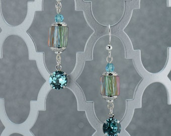 Turquoise Drop Cane Glass Earrings - E2576 - Free Shipping