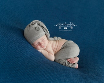 RTS - Newborn Up cycled Gray Sleeping Cap and Pants Outfit - Photography Prop Set - Ready to Ship