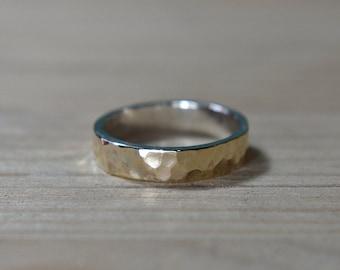 Womens Hammered 9k Gold Ring, Hammered 9k Gold Wedding Ring, Hammered Gold Wedding Band for Woman, Hammered 9k Gold Band, Gold Wedding Band