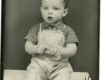 1940 Little Boy Photo Booth Sits on Table Wide Eyed Sweet 15 mnths