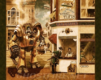 Faux Antiqued Steampunk Mecha at the Shop with Airships Art Print - Multiple Sizes Available - P.N. Caster - Airship Provisioner