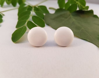 White Faux Leather Covered Button Stud Earrings - Hypo-Allergenic Surgical Steel