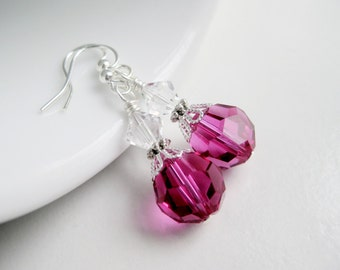 Fuchsia earrings, magenta jewelry, Swarovski crystal, hot pink dangle earrings for women, bright pink gift