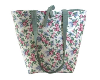 Floral Tote Bag, Cloth Purse, Pink Roses, Purple Lilacs, Handmade Handbag, Ivory Fabric Bag, Flowers, Shoulder Bag