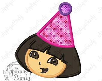 Dora Birthday Applique Machine Embroidery Applique Design 4x4 5x7 6x10 Party Hat INSTANT DOWNLOAD