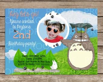 Custom My Neighbor Totoro Birthday Invitation