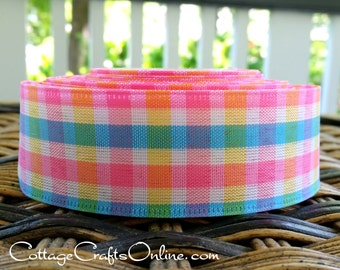 "Wired Ribbon 1 1/2"",  Pink, Yellow, Blue, White Gingham Check - TEN YARD ROLL -  ""Lorna"" Plaid  Spring, Summer Wire Edged Ribbon"