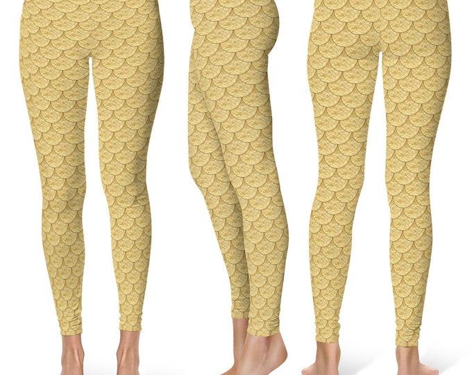 Gold Mermaid Leggings Yoga Pants, Printed Yoga Tights for Women, Dragon Scales Pattern